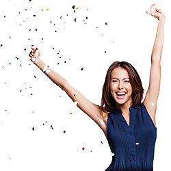 Beautiful woman with confetti at party on gray background